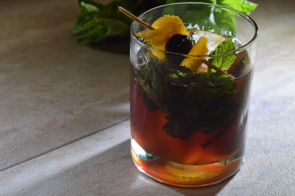 Memorial Day is a holiday for remembrance and respect, but also for relaxing and enjoyment.  This smokey-sweet cocktail is great for the long weekend.  A smooth, fresh bourbon cocktail to enjoy while grilling or just chilling.